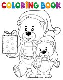 Coloring book Christmas bears theme 1
