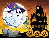 Ghost with hat and lantern theme 4