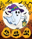 Ghost with hat and lantern theme 5