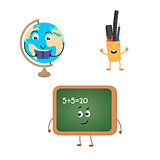Set of funny characters from blackboard, globe, school supplies.