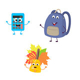 Set of funny characters from calculator, school bag, bell.