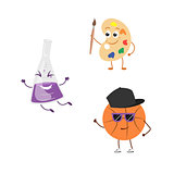 Set of funny characters from basketball, palette, flask.