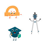 Set of funny characters from pair, compasses, protractor, cap.