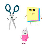 Set of funny characters from eraser, scissors, paper.