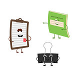 Set of funny characters from notebook, tablet, office clamp.