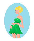 Pregnant blond woman in green dress