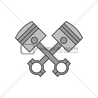 Crossed engine pistons icon