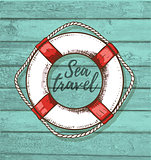Travel background with lifebuoy