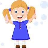 Girl with Toothbrush Cartoon Vector Illustration