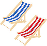 Flat striped beach sunbed lounger chair wood isolated on white. Vector illustration