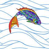 Hand drawn stylized sea fish, zen-doodle style seamless pattern
