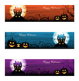 Three colorful Halloween haunted house background