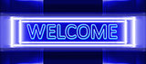 neon sign of welcome