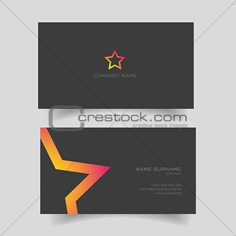 Business card with star shape