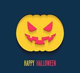 Happy Halloween flat paper card.