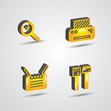 three dimensional computer technology icon set