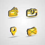 three dimensional commercial icon set