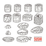 Doodle japanese sushi and rolls collection. Traditional fresh seafood. Asia cuisine delicious. Rice with salmon, eel, alga.