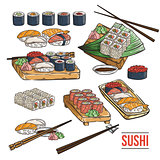 Doodle sushi and rolls on wood. Japanese traditional cuisine dishes set.