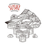 Doodle sushi and rolls on wood. Japanese traditional cuisine dishes illustration.