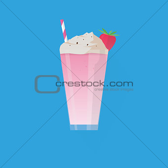 A glass of strawberry milkshake, with berry and straw. Modern flat style
