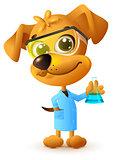 Yellow teacher dog holding flask. Chemistry lesson