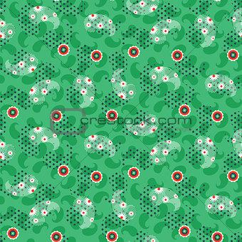 Paisley green mesh pattern seamless vector.