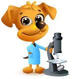 Yellow dog teacher holding microscope. Biology lesson