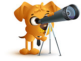 Yellow fun dog teacher looking through telescope. Astronomy lesson