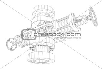 Blowout preventer. Wire frame style