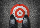 Businessman Stood On A Target