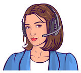 Support service. Beautiful young woman head in headphones