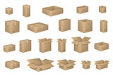 Big Set of isometric cardboard boxes isolated on white. Carton box Organized by layers. Vector illustration of packaging. Delivery packaging open and closed cardboard with fragile signs.