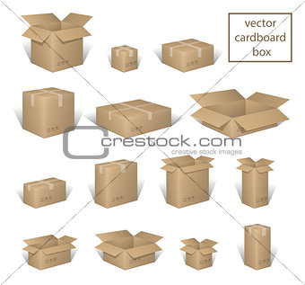 Carton delivery packaging open and closed box, with fragile signs set. Brown box collection, cardboard container isolated on white. vector illustration