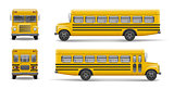Yellow school bus front, back and side view. Transportation and vehicle transport, back to the school. Relistic bus mockup. Vector illustration