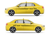 Realistic yellow Taxi car. Car mockup isolated on white. Taxi vector illustration