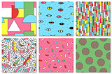 Collection of colorful seamless memphis pattern. Fshion style 80-90s. Good for children design.