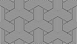 Geometric seamless pattern. Black and white striped texture.