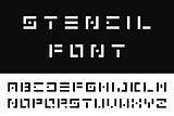 Simple stencil font. Vector english alphabet. Digital letters.