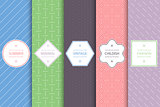 Collection of seamless geometric patterns - colorful minimalistic design.