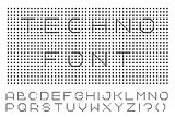 Digital english alphabet. Minimalistic dotted font.