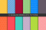 Collection of seamless geometric patterns - bright colorful backgrounds.