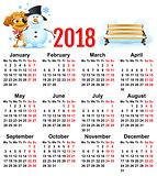 Yellow dog symbol of year 2018. Winter vacation making snowman
