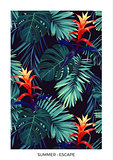Floral vertical postcard design with guzmania flowers, monstera and royal palm leaves. Exotic hawaiian background.