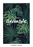 Dark vector tropical design with green jungle palm leaves and lettering.