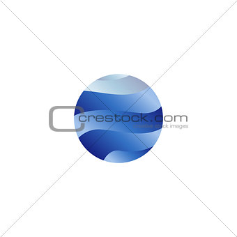 Abstract isolated round shape liquid, blue color ocean, wave and sky, cloud logo. Water stylized vector logotype.
