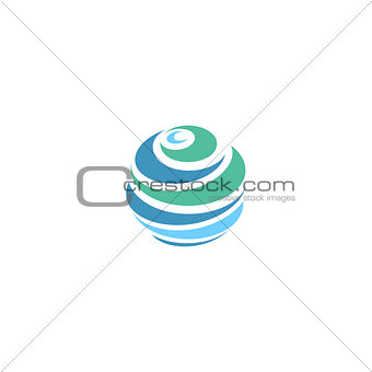 Abstract blue global planet stripped vector logos template. Rotating blue strips, circular planet in motion around its axis. Miscellaneous universal isolated logo.