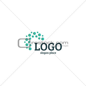 Abstract dotted vector logo template. Miscellaneous universal isolated unusual logotype.