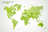 Vector political map with the names of all countries in green gradient color, vector illustration.