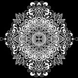 Abstract mandala ornament. Asian pattern. Black and white authentic background. Vector illustration.